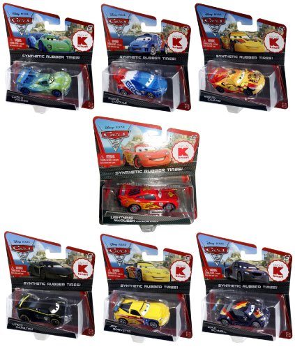 (Disney Pixar Cars 2 KMart Exclusive Synthetic Rubber Tires Set of 7 Caroule, McQueen W/ Racing Wheels, Camino, Gorvette, Veloso, Hamilton & Schnell)