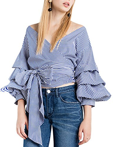 Cotton Stripe Wrap Top (HAOYIHUI Women's Wrap V Neck Stripe Tiered Sleeve Tie Front Blouse Top(L,Striped))