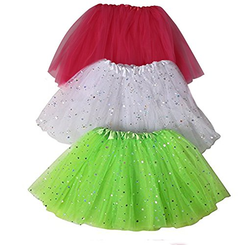 Girls Ballerina Sparkle Tutu Beginner 3 Pack Dress Up Set (Lime Green, Hot Pink & White) (Hot Pink And Lime Green compare prices)