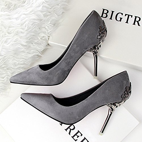 Shoes red were High lattice Women's shoes which shoes shoes Court bridal shoes HUAIHAIZ shoes evening Heels wedding Sandals Pumps New 10CM Grey with ZCxwaaPXqd