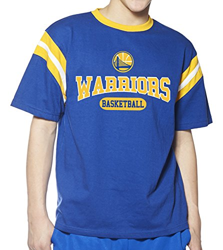 NBA Golden State Warriors Children Unisex NBA Youth Short Sleeve Ringer Tee,XL,Royal/Gold