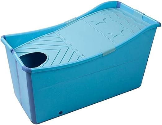 GAONA Portátil Bañera For Adultos, De Plástico Azul Plegable con ...