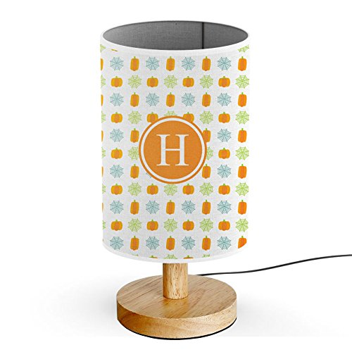 [ INITIAL LETTER H ] Monogram Name USB POWERED Wood Base Desk Table Bedside Lamp [ Creepy Halloween -