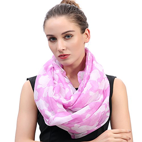 Lina & Lily Rabbit Bunny Print Infinity Loop Women's Scarf Lightweight (Pink)