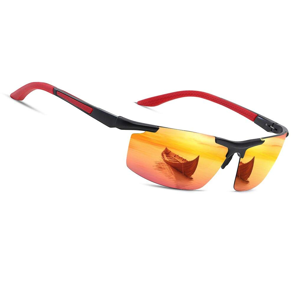 0fadca0d71 Men s Polarized Sunglasses for Women Sports Driving Cycling Running Fishing  Golf Unbreakable Frame Ultra Light Driver Sunglasses (Red Red)