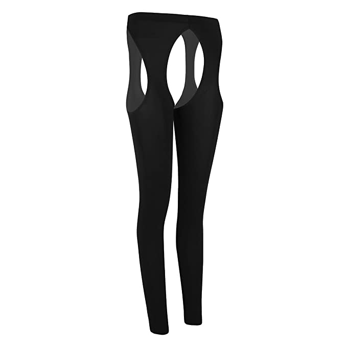 35a23525f0b78b Agoky Women's Cut Out Crotchless Tights Pantyhose Open Toe Stocking Control  Up Legging Black One_Size
