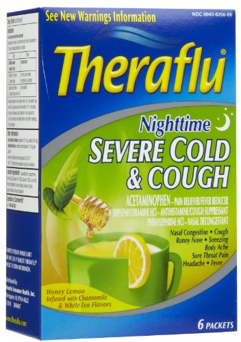 Theraflu Nighttime Severe Cold & Cough with Honey Lemon Infused with Chamomile & White Tea Flavors 6 ct