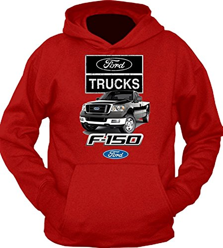 Ford Trucks F-150 Black 4x4 Built Tough Hoodie Sweatshirt, Red, L (2006 Ford F250 4x4 Front Axle Diagram)