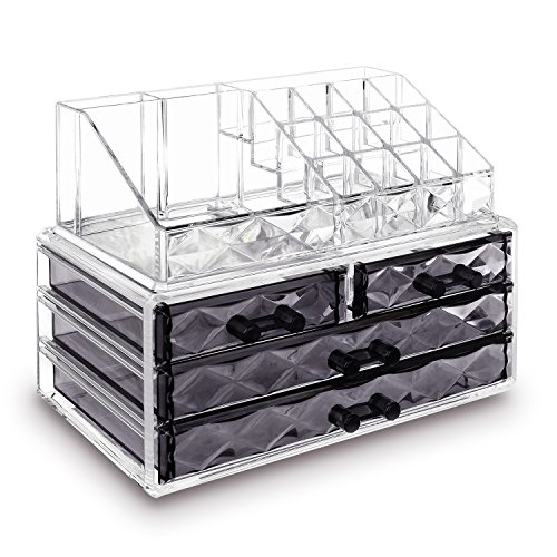 Ikee Design Jewelry and Cosmetic Storage Makeup Organizer Two Pieces Set, Clear Diamond ()
