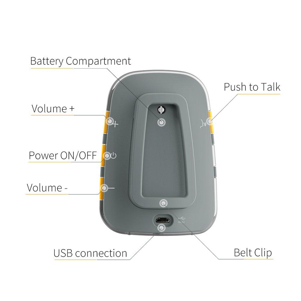 TimeFlys Camry Audio Babyphone Piles Rechargeables USB Connexion Pager Z/éro /émission en mode nuit Fonction Intercom