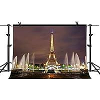 MME 10x7Ft Eiffel Tower Backdrop Paris Landmark Fountain Night Scene Romantic Background Video Studio Photo LUME005