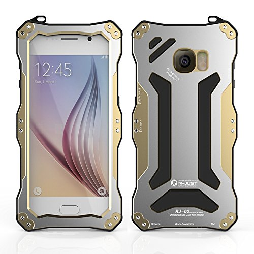 R-just NEW Gundam Series Waterproof Protective Case Snow-resistant Dustproof Shockproof Shell Heavy Duty Metal Cover Tempered Glass for Samsung Galaxy S6 Golden