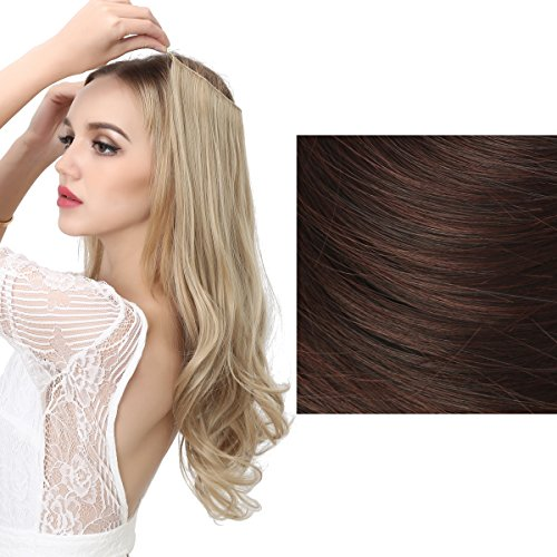 SARLA Halo Synthetic Hairpieces Flip in Women Hair Extensions Natural Wave Hidden Halo Hair Extensions M01(2/33 Dark Chocolate)