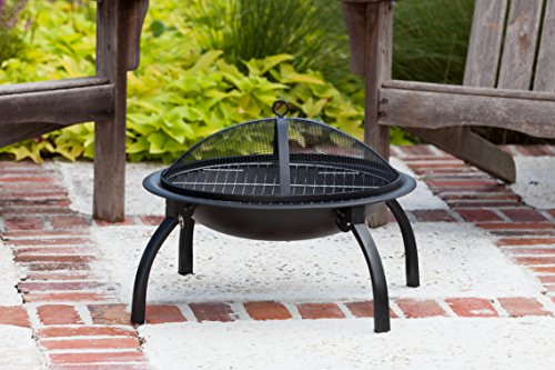 Fire Sense Portable Folding Round Black Steel 22 Inch Fire Pit with Carry Bag | Wood Burning | Mesh Spark Screen, Wood Grate, Cooking Grate, and Screen Lift Tool Included | Lightweight Patio - A Must Buy Item. Built To Last. Great Item To Give as A Gift. - patio, outdoor-decor, fire-pits-outdoor-fireplaces - 51qvEpMIlGL -