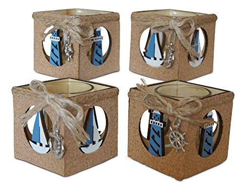 Shoreside Nautical 4-Piece Lighthouse & Sailboat Cork Covered Rustic Tea Light Candle Holder Home & Room Beach Decor