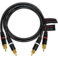 2 Foot RCA Cable Pair - Made with Canare L-4E6S, Star Quad, Audio Interconnect Cable and Neutrik-Rean NYS Gold RCA Connectors – Directional Design - CUSTOM MADE By WORLDS BEST CABLES