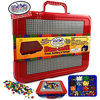 Matty's Toy Stop Brik-Kase 2.0 Travel, Building, Storage & Organizer Container Case with Building Plate Lid (Holds Approx 2000pcs) - Compatible with All Major Brands (Blue, Red & Gray) New Improved