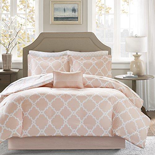 Madison Park Essentials Merritt Reversible Bed Cotton Sheet Comforter Set, Twin XL, Blush