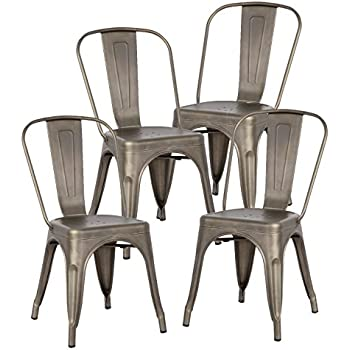 Poly and Bark Tolix Style Bistro A Dining Side Chair (Set of 4), Bronze