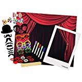 Polaroid All-In-One Photo Booth Kit – Includes Backdrop, Fun Photo Props & Oversized Polaroid-Styled Frame – Compatible with HP Sprocket, Fuji Instax Mini 9, 26, Kodak Mini & Dock