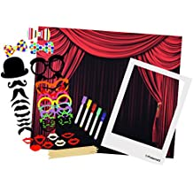 Polaroid All-In-One Photo Booth Kit – Includes Backdrop, Fun Photo Props, Markers & Oversized Polaroid-Styled Frame – Perfect for Parties, Family Affairs & Corporate Events