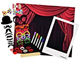 Polaroid All-In-One Photo Booth Kit - Includes Backdrop, Fun Photo Props, Markers & Oversized Polaroid-Styled Frame - Perfect for Parties, Family Affairs & Corporate Events