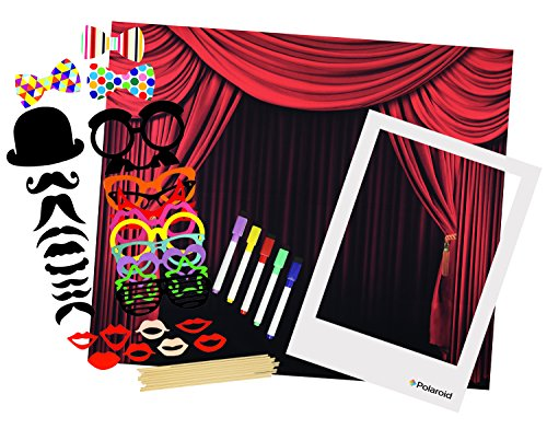 Polaroid All-In-One Photo Booth Kit – Includes Backdrop, Fun Photo Props, Markers & Oversized Polaroid-Styled Frame – Perfect for Parties, Family Affairs & Corporate Events -