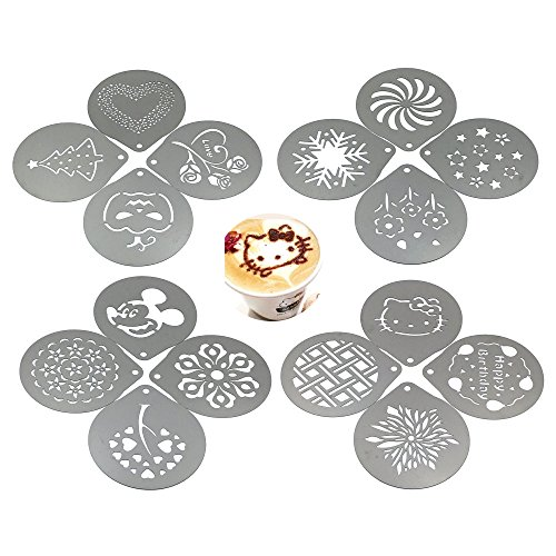 Passionier Barista Coffee Stencils, 16PCS Stainless Steel Coffee Decorating Stencils Template for Latte Cappuccino, Cupcake Cookie Stencils by Passionier