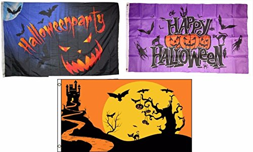 ALBATROS 3 ft x 5 ft Happy Halloween 3 Pack Flag Set #59 Combo Banner Grommets for Home and Parades, Official Party, All Weather Indoors Outdoors -