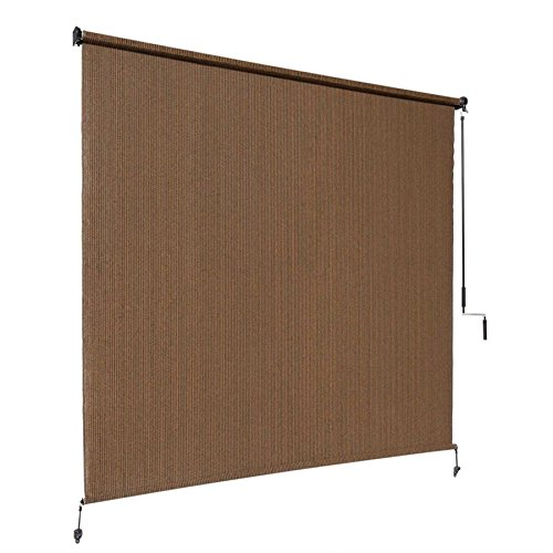 Coolaroo Exterior Roller Shade, Cordless Roller Shade with 90% UV Protection, No Valance, (4' X 6'), Mocha