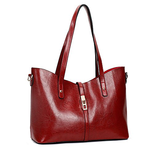 Women Large Handbag Red Satchel Tote Bags Purse Sets 4pcs Top Shoulder 2 Handle for tqqrwFBxE