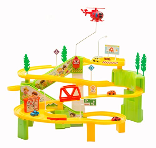 Toy Car Playset with Fun Roller Coaster Tracks includes 4 Mini Bullet Cars Electronic Moving Tracks Flashing Lights and Sounds