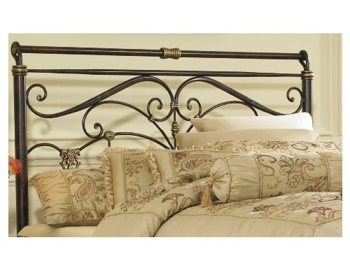 Headboards Double Beds (Lucinda Metal Headboard with Intricate Scrollwork and Sleighed Top Rail Panel, Marbled Russet Finish,)