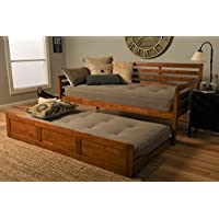 Boho Wood Daybed Frame Twin Size Choice to Add Trundle (Frame w/ Trundle Mattresses Not Included)