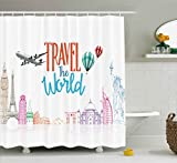Quote Decor Shower Curtain by Ambesonne, Travel The World Lettering with Around World Landmarks Balloons Artwork Image, Fabric Bathroom Decor Set with Hooks, 70 Inches, Multicolor
