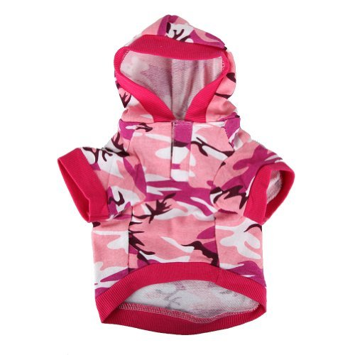 Pink Camouflage Hoodie Pet Dog Clothes Camo Sweatshirt-XS (Camo Dog Hoodie Clothes)