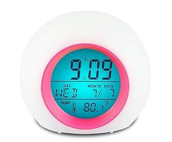 JFKJJY Reloj Despertador para niños LED Digital 7 Colores Sonido Natural Reloj Despertador Fecha Temperatura Pantalla 12/24 Ajuste de Hora función de ...