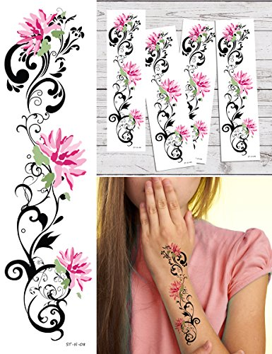 Tribal Lower Back Temporary Tattoo - Supperb Temporary Tattoos - Pink lotus Tribal Temporary Tattoo Tattoos (Set of 4)