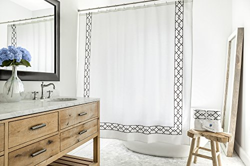 (Southampton | Luxury Black & White Shower Curtain | Elegant Jacquard Fabric Shower Curtain | Classic Look | Heavy Weight | Mildew Resistant | 72 x 72 Bath Shower Curtain)