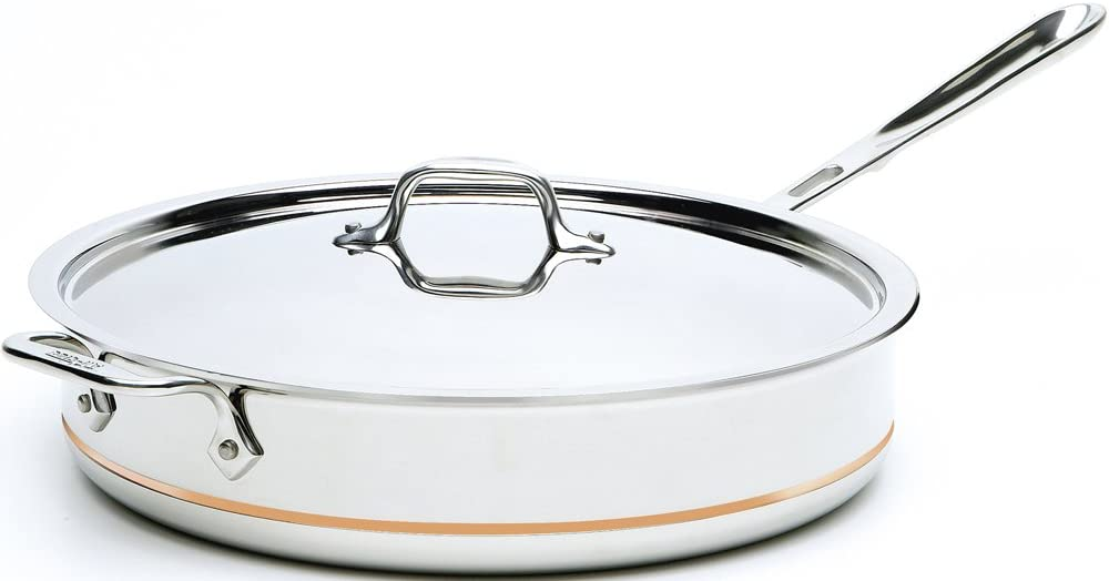 All-Clad 6406 SS Copper Core 5-Ply Bonded Dishwasher Safe Saute Pan with Lid / Cookware, 6-Quart, Silver -
