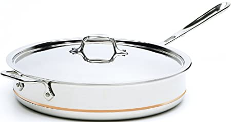 All-Clad 6406 SS Copper Core 5-Ply Bonded Dishwasher Safe Saute Pan with Lid Cookware, 6-Quart, Silver