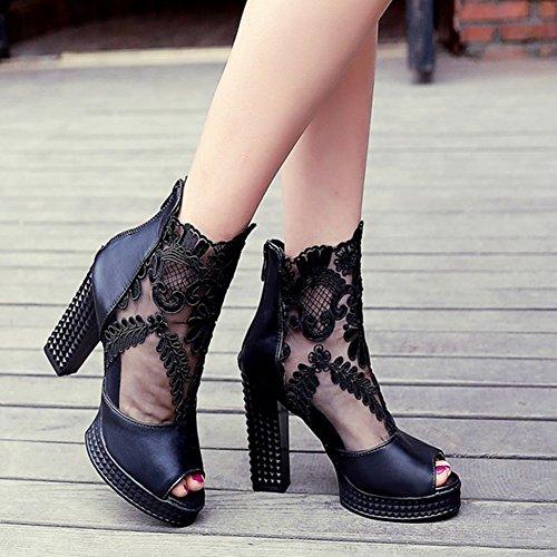 Aisun Womens Mignonne Cool Peep Toe Plate-forme Maille Évider Sandales Talons Hauts Chaussures Bottes Dété Noir