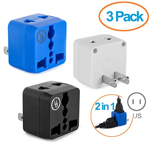 Yubi Power 2 in 1 Universal Travel Adapter with 2 Universal Outlets - Built in Surge Protector - 3 Pack - Black White Blue - Type A for U.S.A., Japan, China, Canada, Mexico, Jamaica, and more - Protector Type