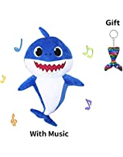 Baby Shark Singing Plush Toys, Music Sound Plush Doll for Babies Toddlers, Soft Baby Cartoon Shark Song Doll Plush Toys Children's Day Gift for Kids Boys Girls (Blue)