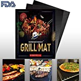 Barbecue Magus BBQ Grill Mat Set of 2- Reusable Non-Stick Grilling Mats (Black) - Extended Warranty-15.75 x 13 inch