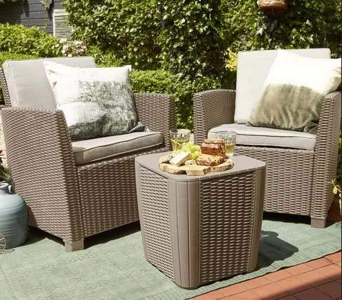 Luca Outdoor- Sunroom Furniture- Out Door Patio Furniture- Cappuccino Plastic Resin Three Piece Set Cushioned - Great for Summer Barbecues, Garden Parties, and Afternoons Spent Lounging
