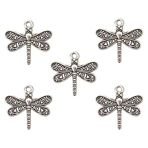 JETEHO 100 pcs Antique Silver Dragonfly Charms DIY Charms Pendants