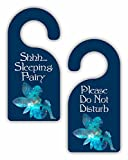 Sleeping Fairy - Novelty - Girls Room Door Sign Hanger - Double Sided - Hard Plastic - Glossy Finish