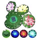 Solar Power Color Changing Floating LED Lotus Light Flower Lamp Floating Pond Garden Pool Nightlight Floating Pond Garden Pool Flower Light Lamp