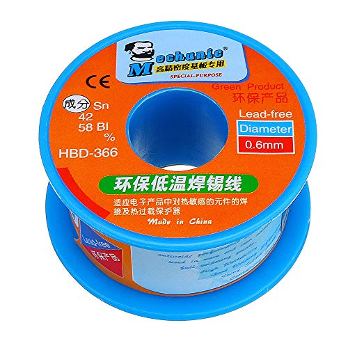 MECHANIC HBD366 0.3/0.4/0.5/0.6mm 40g Solder Wire Roll Low Temperature Lead Free Soldering Tin Wire Sn42/Bi58-0.3mm